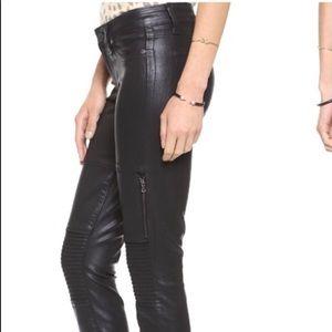 Black silk Paige motor jeans w/zippers
